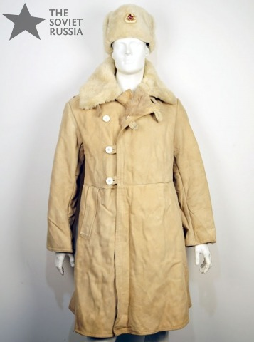 Russian Military Sheepskin Fur Long Coat Overcoat Pointsman Jacket