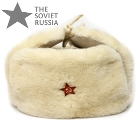 Russian White Sheepskin Ushanka with Suede Leather Top